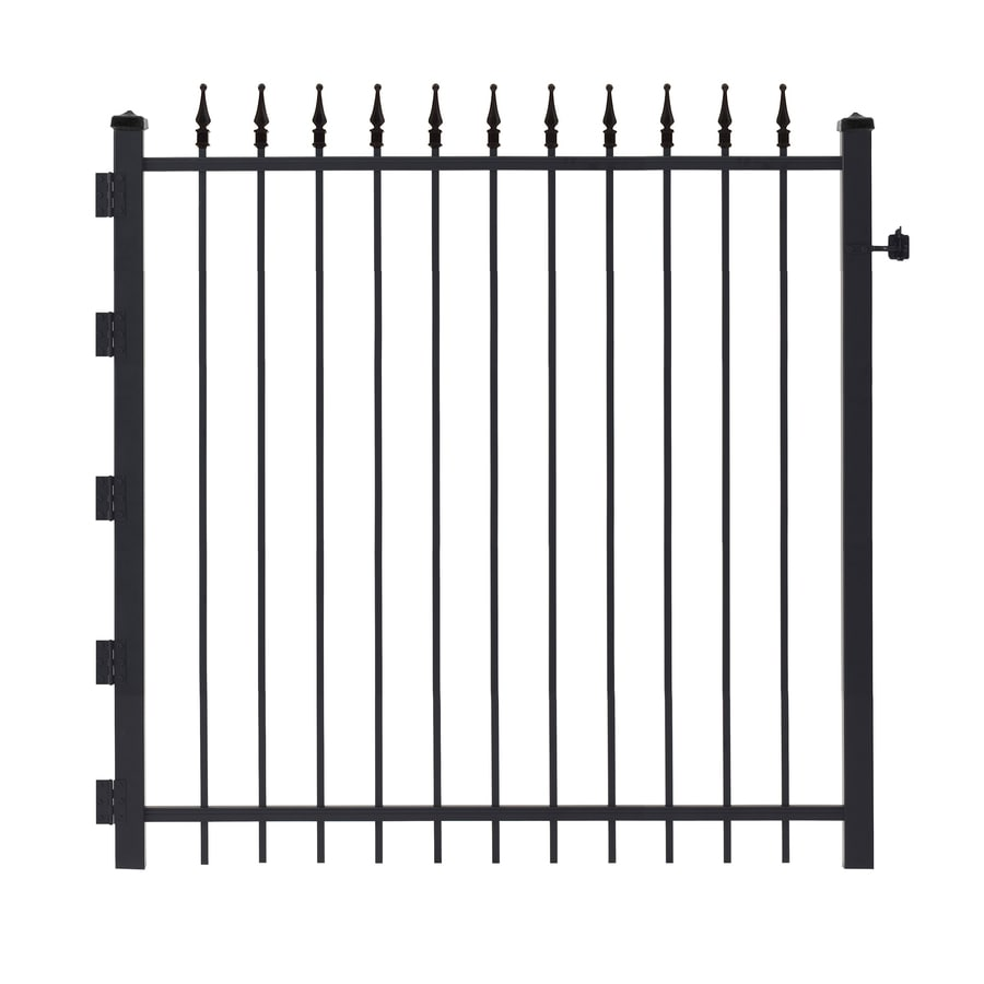 Gilpin (Common: 4-ft x 4-ft; Actual: 3.83-ft x 3.92-ft) Black Steel Decorative Fence Gate