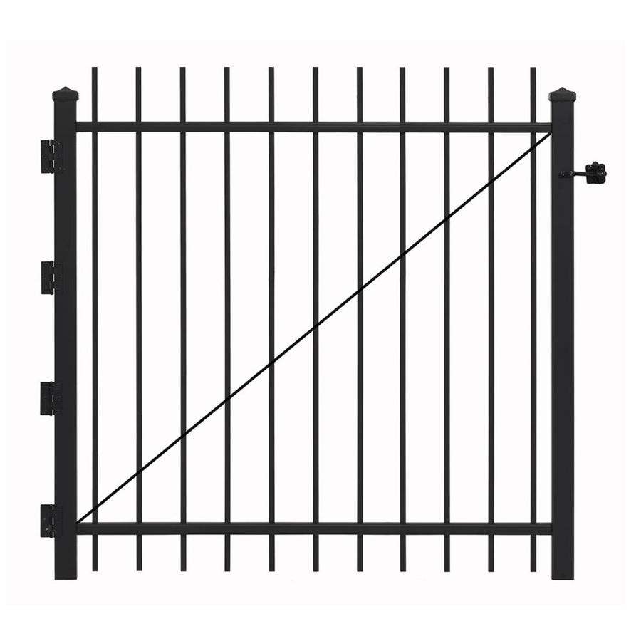 Gilpin (Common: 5-ft x 4-ft; Actual: 4.83-ft x 3.92-ft) Black Steel Decorative Fence Gate