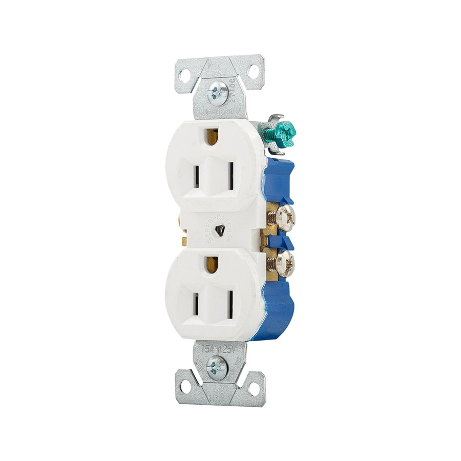 Eaton 15-Amp 125-Volt White Indoor Duplex Wall Outlet