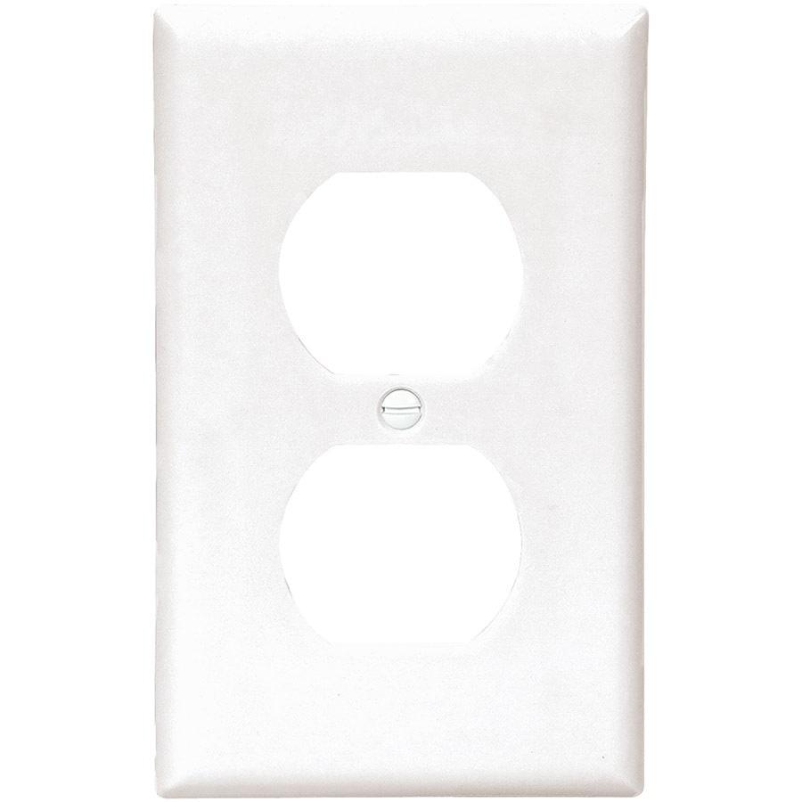 Eaton 1-Gang White Single Duplex Wall Plate