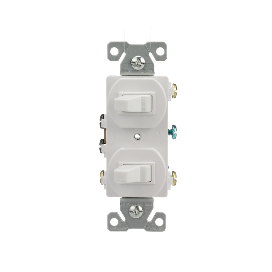 Shop Eaton 2-Switch 15-amp Single Pole 3-way White Toggle Indoor ...