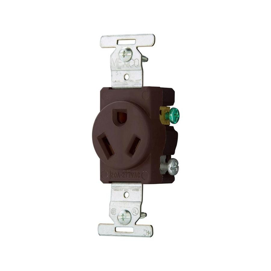 032664183201 eaton brown 20 amp round outlet commercial at lowes com