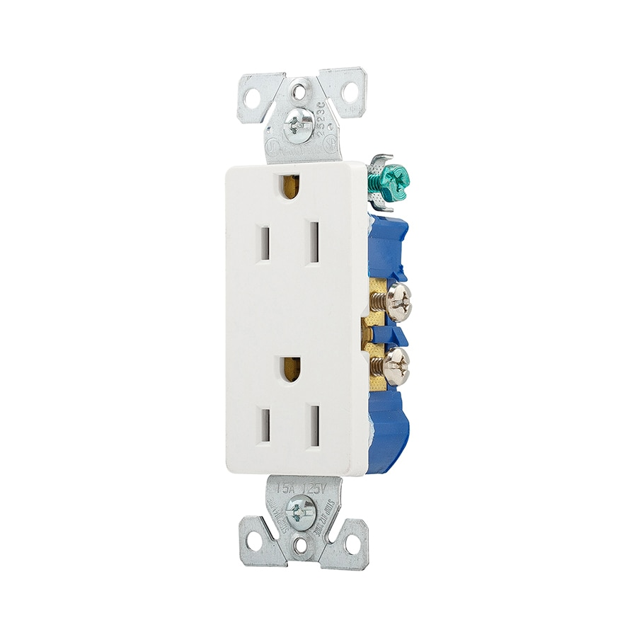Single To Double Socket L Wiring Diagram Plug Private Sharing Wire For Wall Outlet Shop Eaton 15 Amp 125 Volt White Decorator At Lowes Com Rh