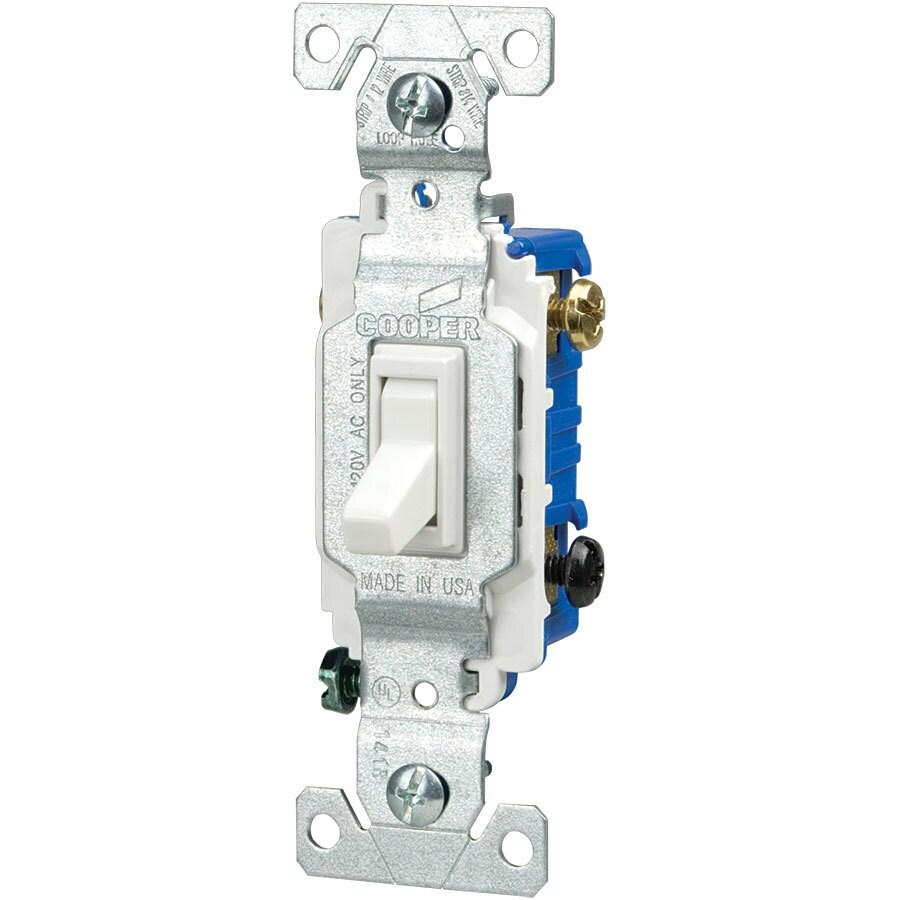 Eaton 15-Amp Single Pole 3-Way White Indoor Toggle Light Switch