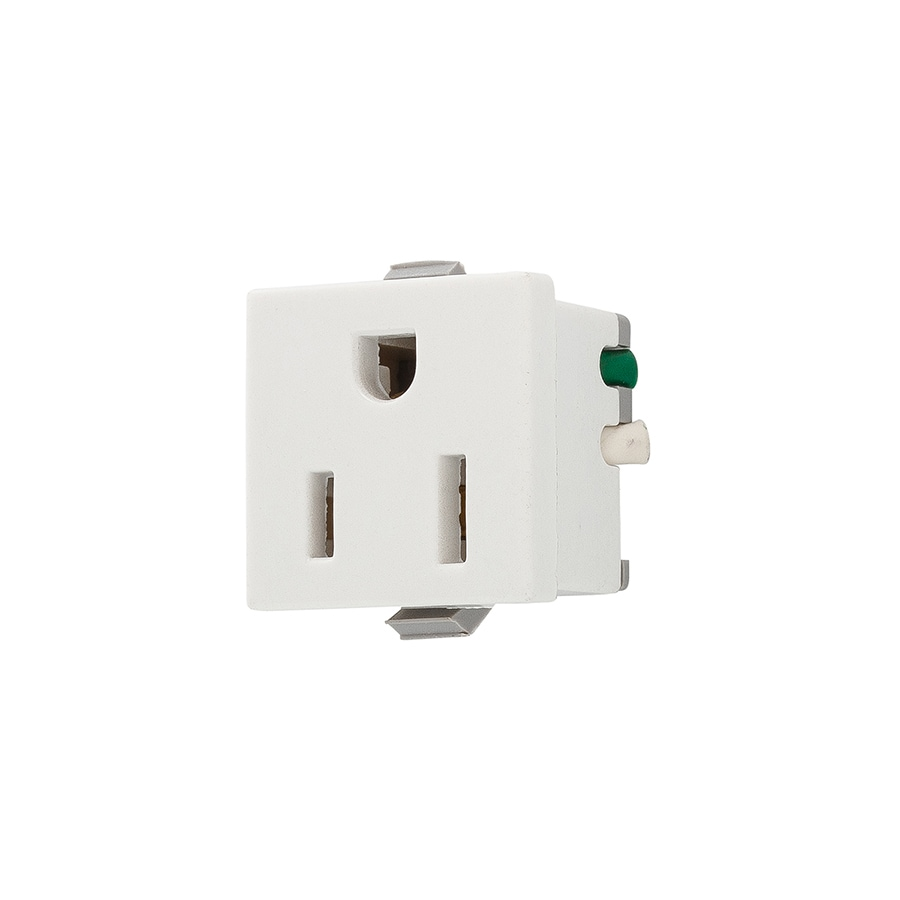 Shop Eaton White 15 Amp Square Outlet Residential At Wiring Diagram Single Light Switch With Plugs Wall Plate Sold Separately
