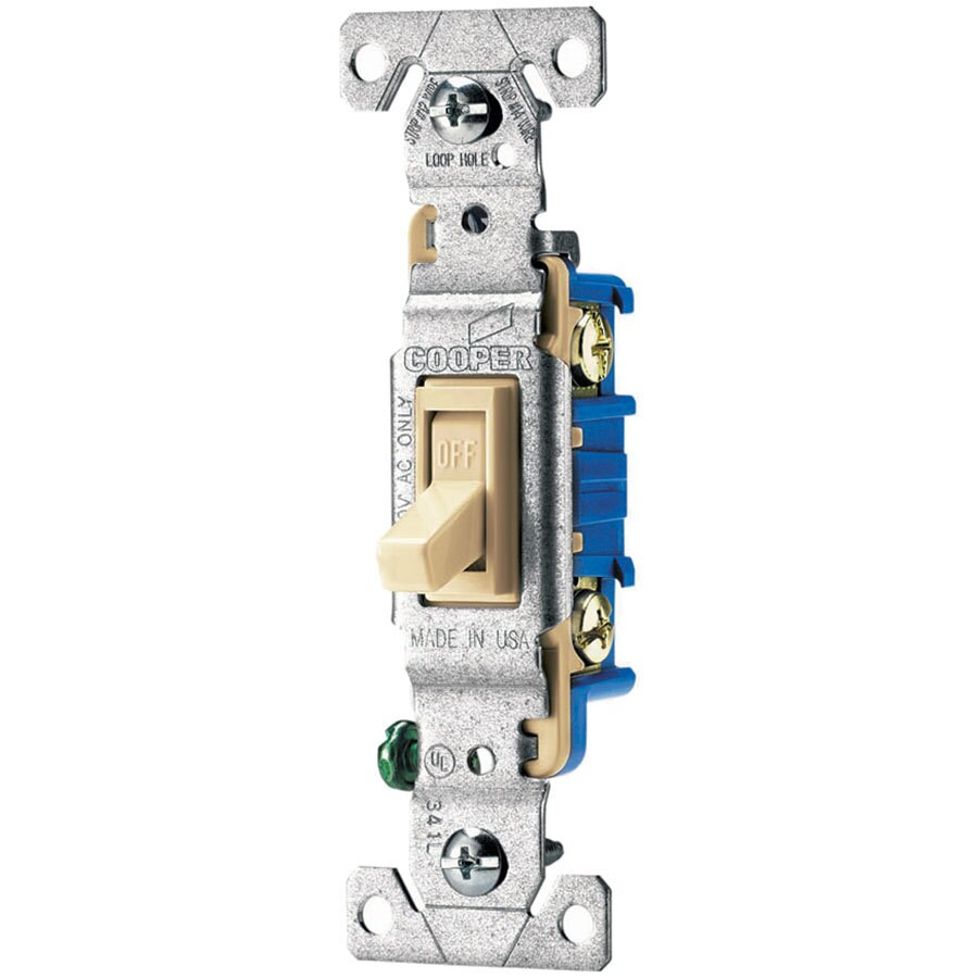 Eaton 15-Amp Single Pole Ivory Indoor Toggle Light Switch