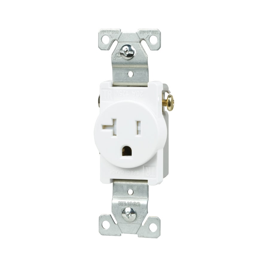 cooper wiring devices 20 amp white single electrical outlet double outlet wiring diagram nema connector wikipedia