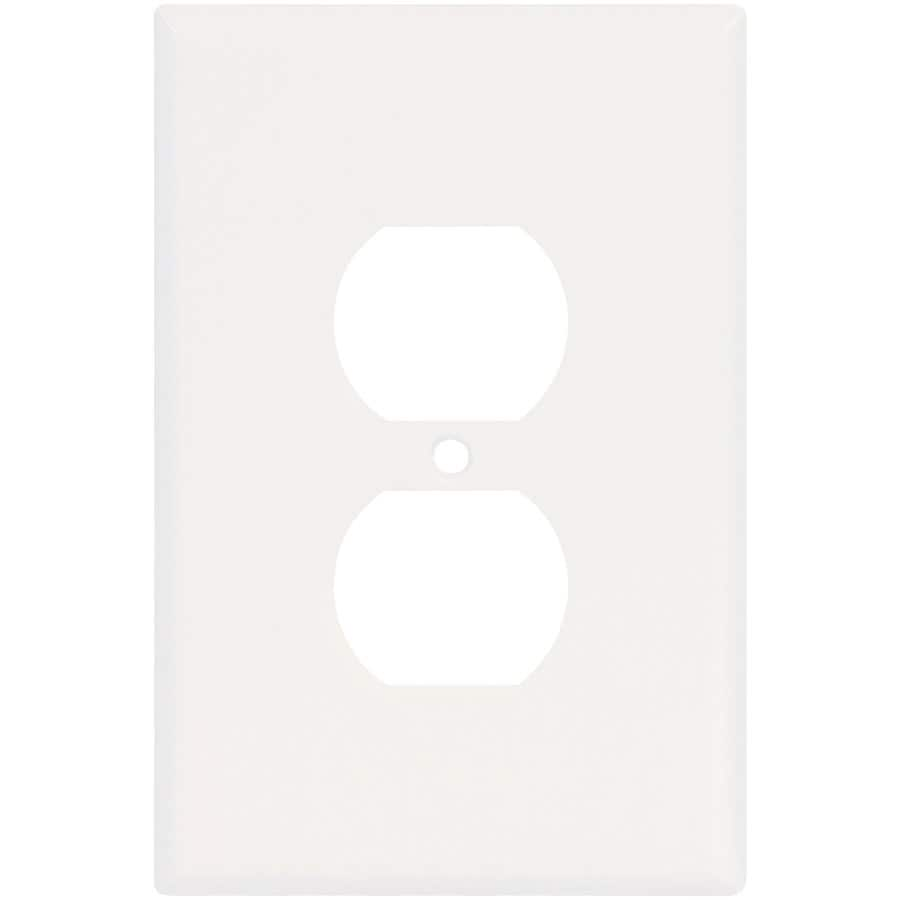 Eaton 1-Gang White Single Duplex Wall Plate