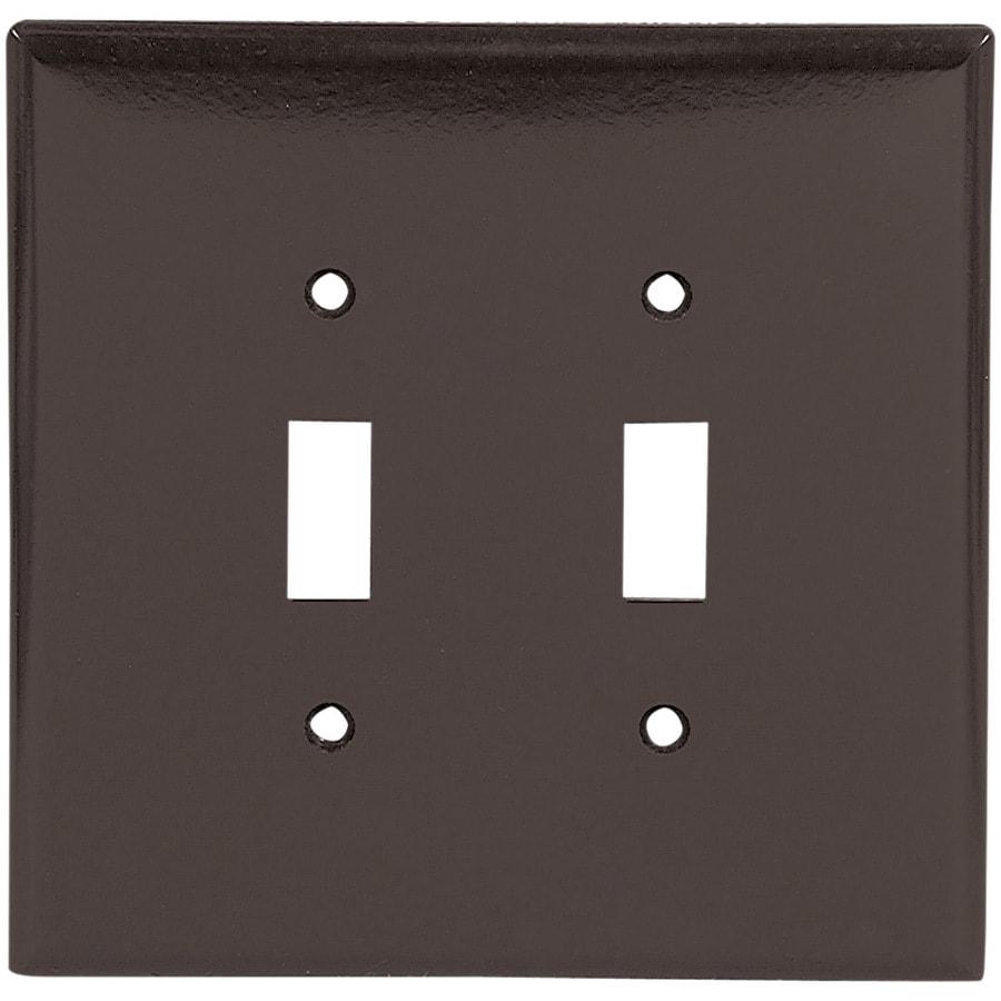 Eaton 2-Gang Brown Toggle Wall Plate