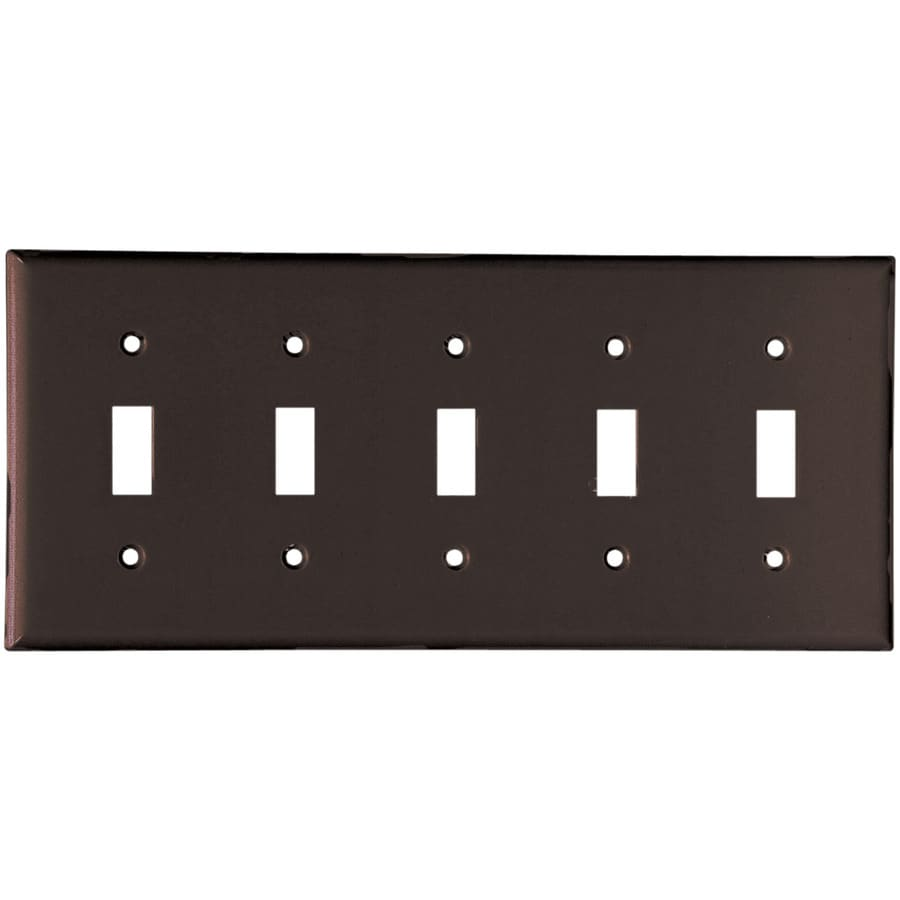 Eaton 5-Gang Brown Toggle Wall Plate