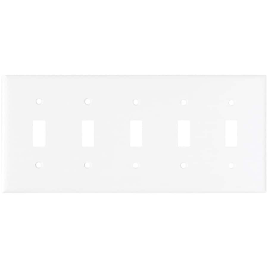 Eaton 5-Gang White Toggle Wall Plate