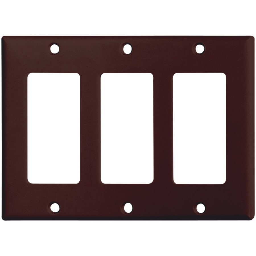Eaton 3-Gang Brown Decorator Wall Plate