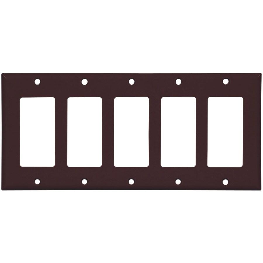 Eaton 5-Gang Brown Decorator Wall Plate