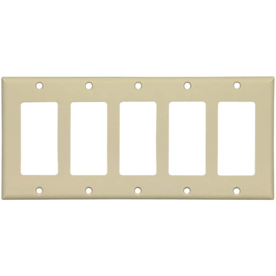 Eaton 5-Gang Ivory Decorator Wall Plate