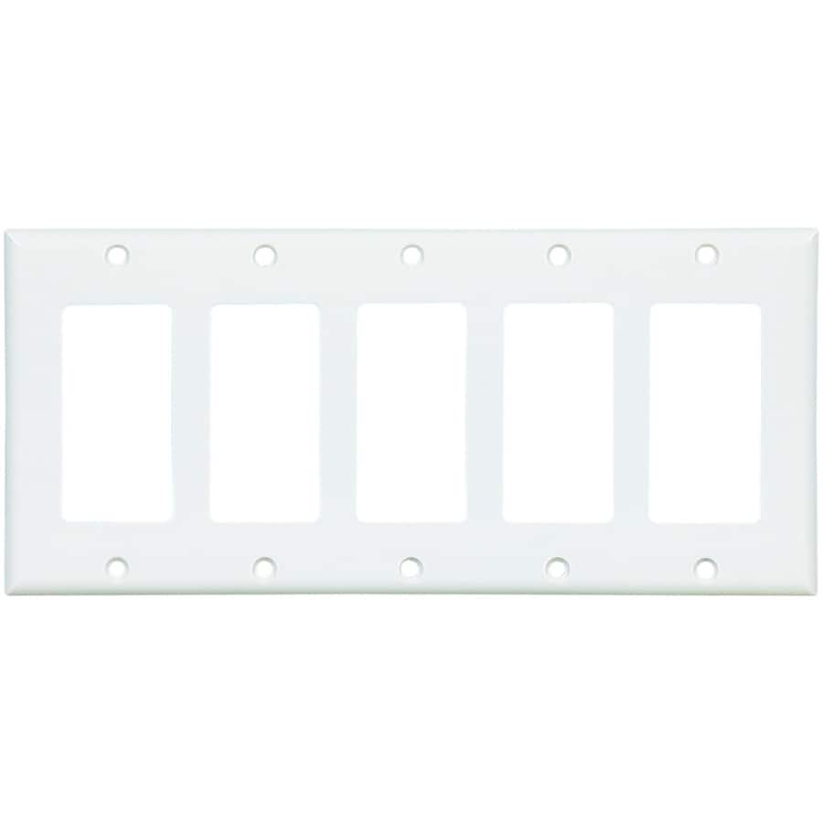 Eaton 5-Gang White Decorator Wall Plate