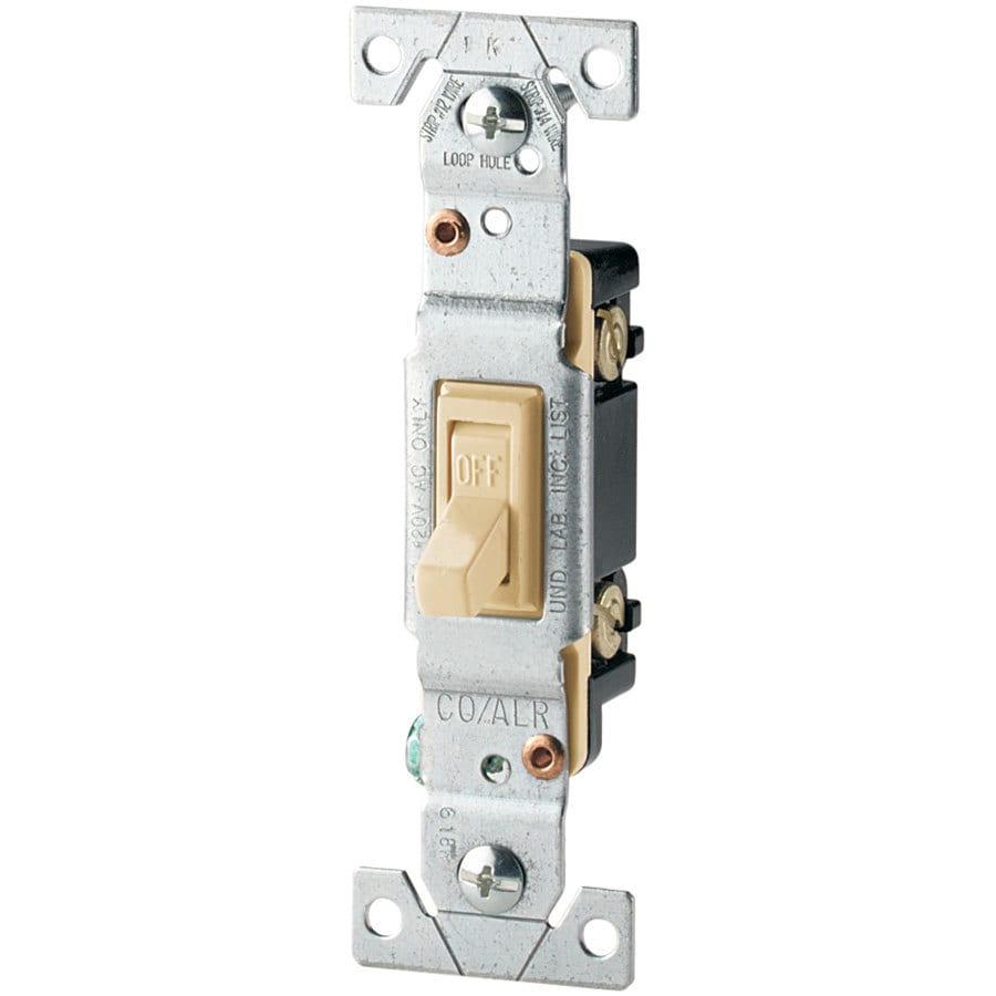 Eaton 15-Amp Single Pole Ivory Indoor Toggle Light Switch