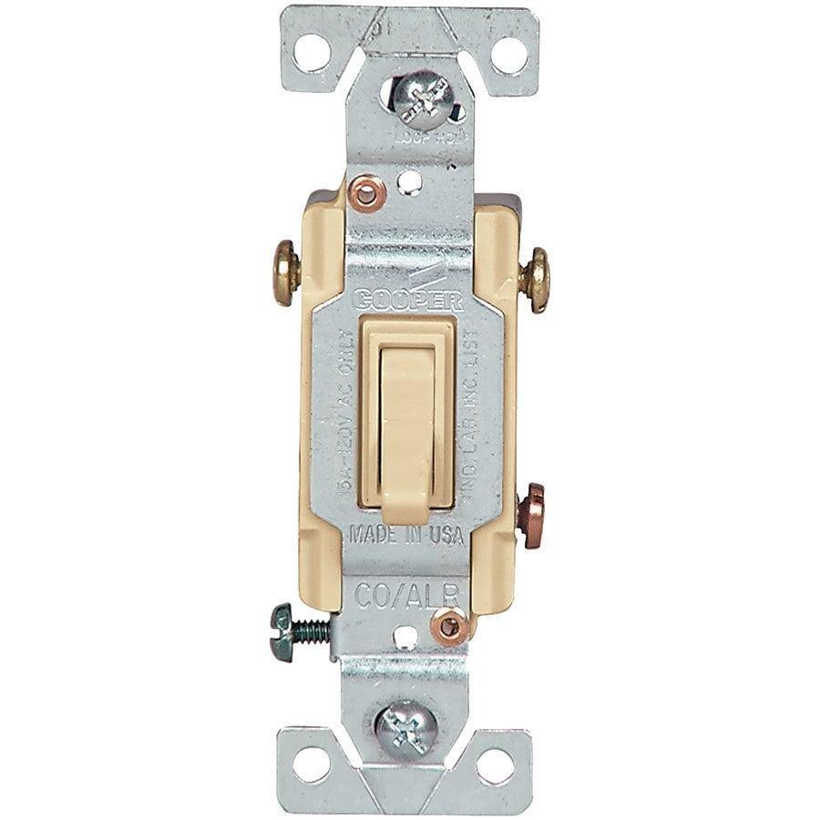 Eaton 15-Amp Single Pole 3-Way Ivory Toggle Indoor Light Switch