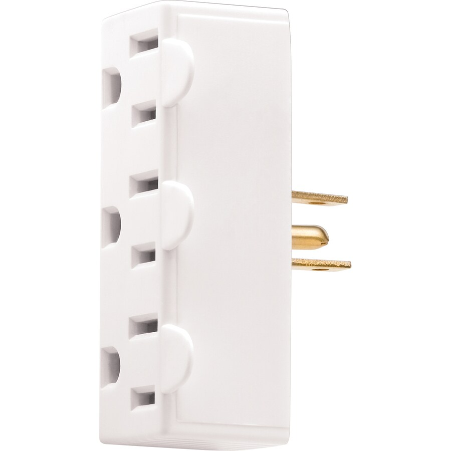 Cooper Wiring Devices 15-Amp 3-Wire Grounding Single to Triple White Basic Adapter