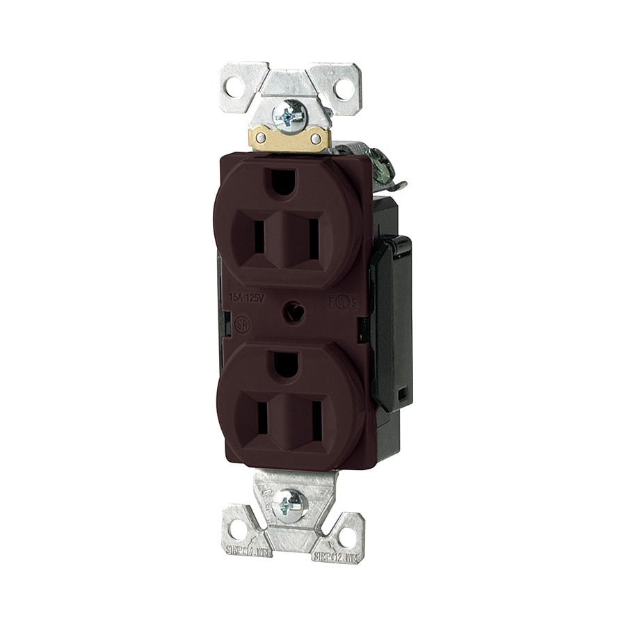 Eaton 15-Amp 125-Volt Brown Duplex Electrical Outlet