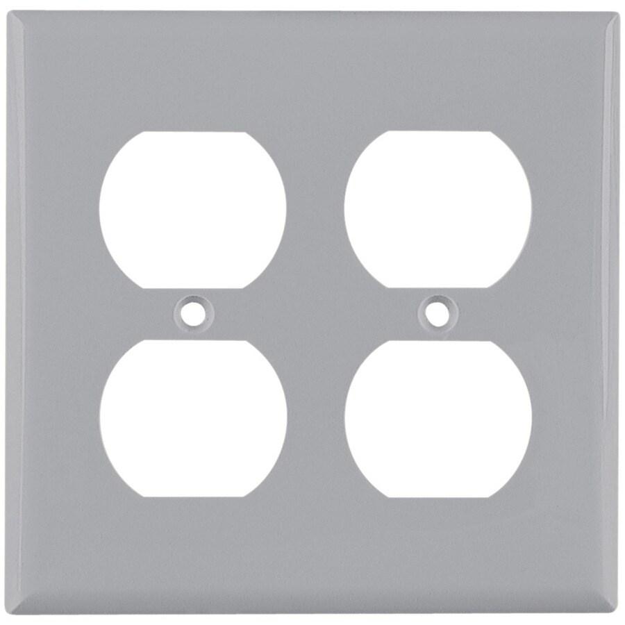 Eaton 2-Gang Gray Round Wall Plate