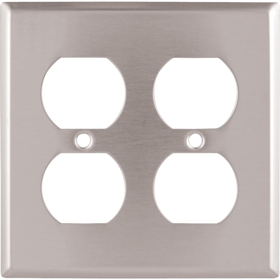 Cooper Wiring Devices 2-Gang Stainless Standard Duplex Receptacle Metal Wall Plate