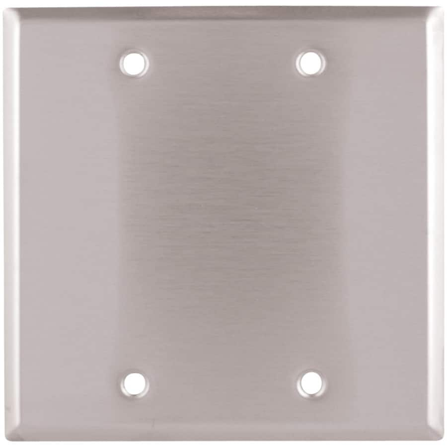 Eaton 2-Gang Stainless Steel Single Blank Wall Plate