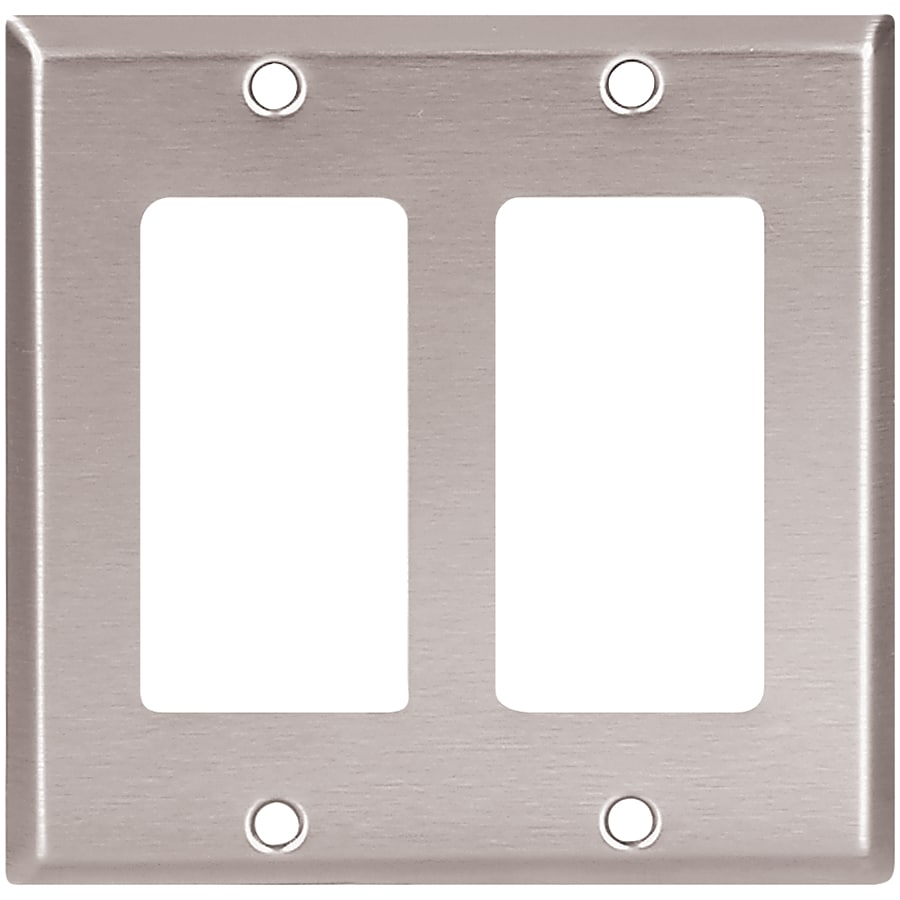 Shop eaton 2 gang stainless steel double decorator wall plate at eaton 2 gang stainless steel double decorator wall plate amipublicfo Image collections