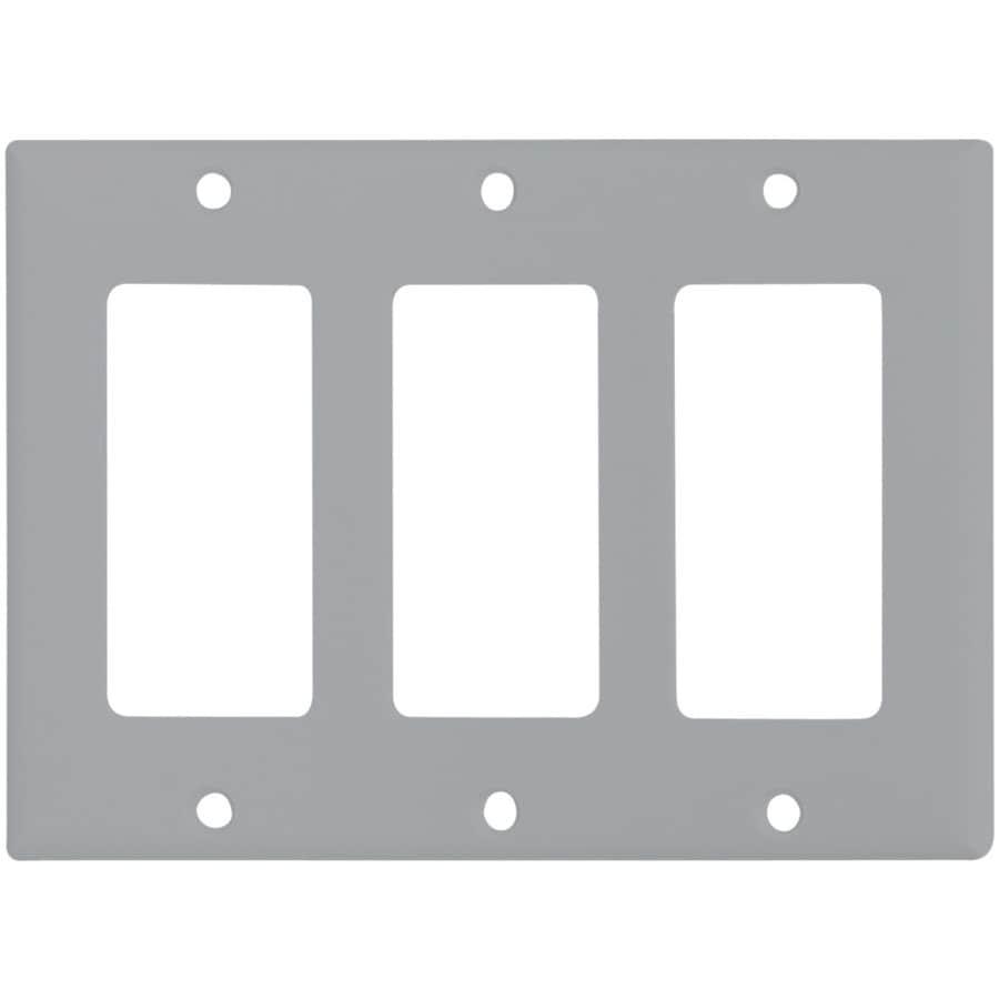 Eaton 3-Gang Gray Decorator Wall Plate