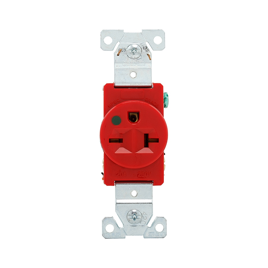 Eaton 20-Amp 250-Volt Red Electrical Outlet