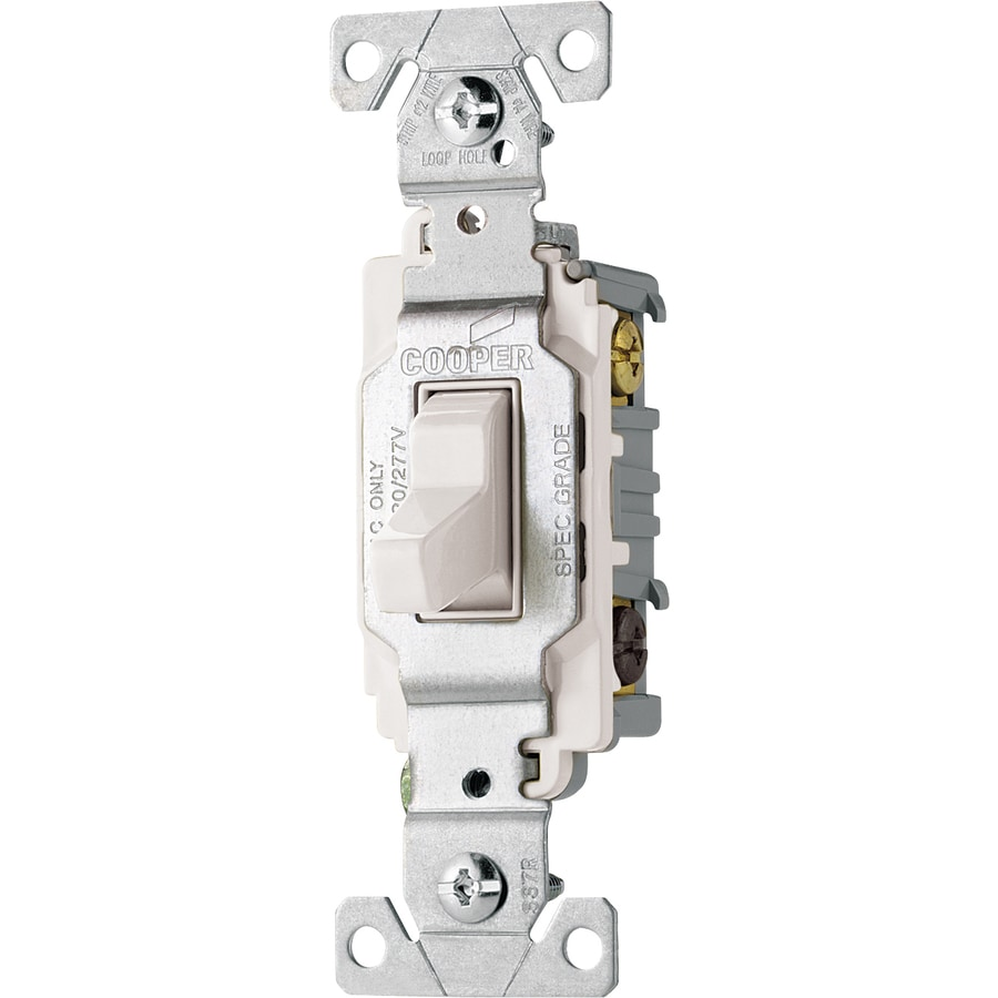 Shop Cooper Wiring Devices Single Pole 3 Way White Light Switch At Two Gang