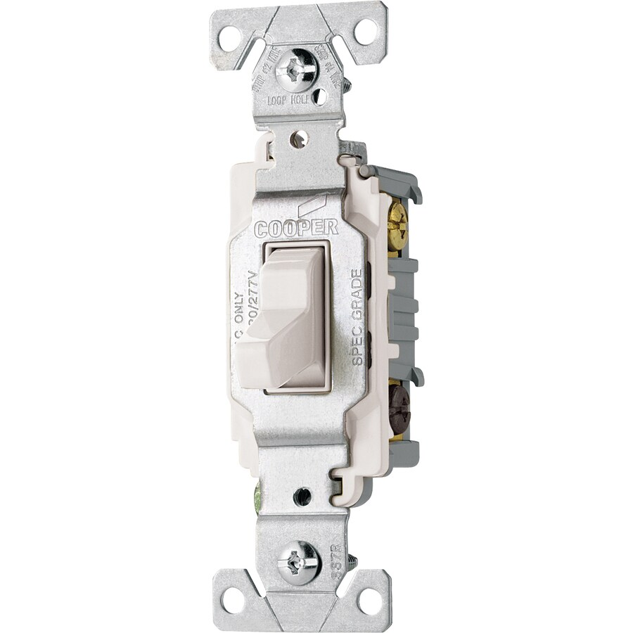 Shop Cooper Wiring Devices Single Pole 3 Way White Light Switch At Loop