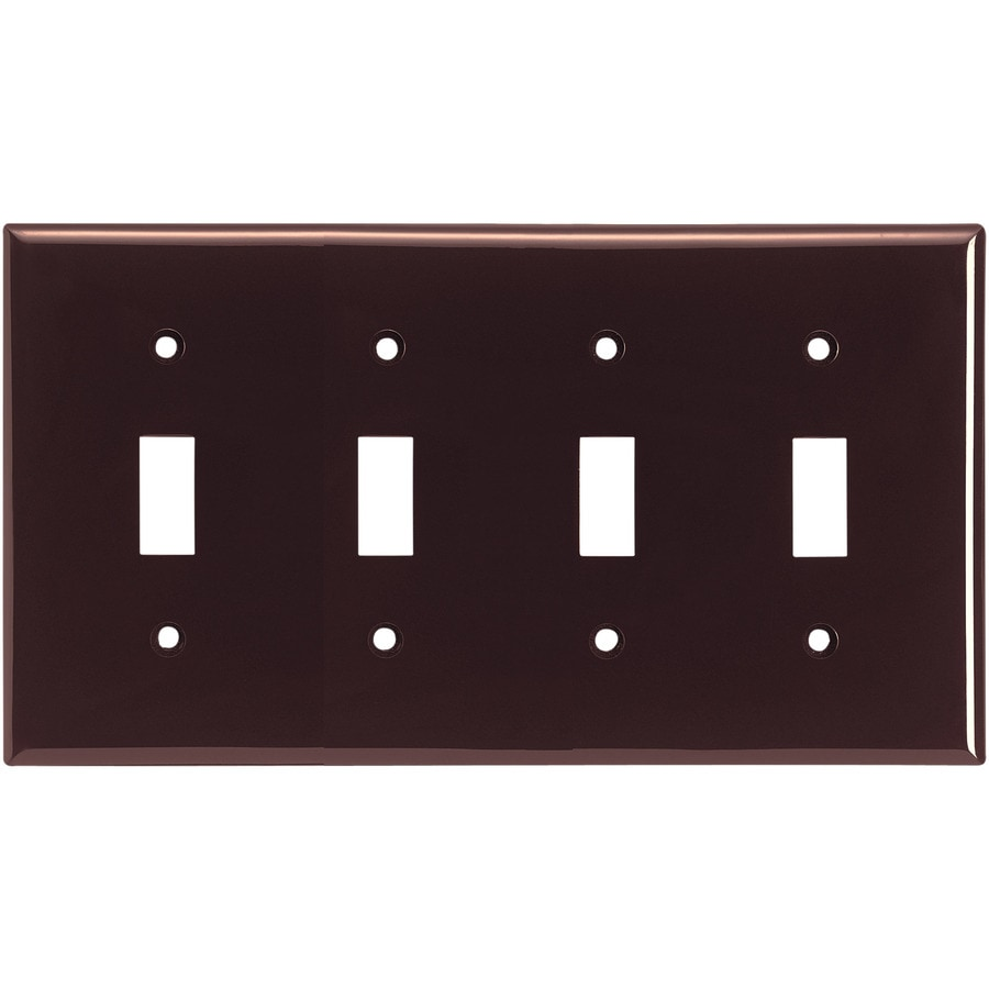 Eaton 4-Gang Brown Toggle Wall Plate