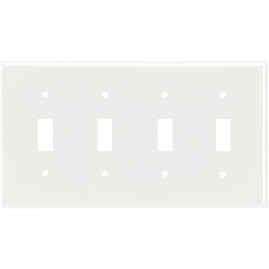 Eaton 4-Gang White Toggle Wall Plate