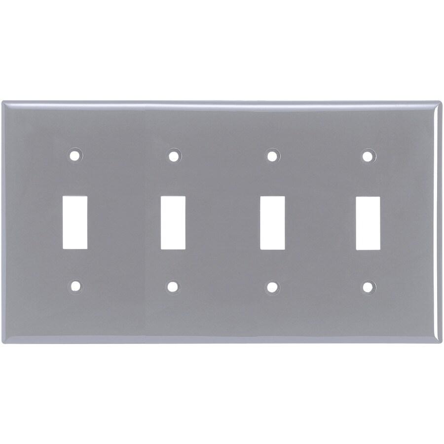 Eaton 4-Gang Gray Toggle Wall Plate