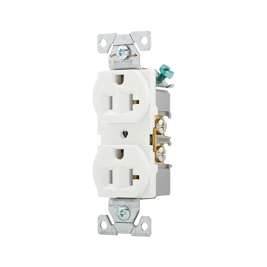 Shop Eaton White 20 Amp Duplex Outlet Commercial 10 Pack At Electrical Wiring For