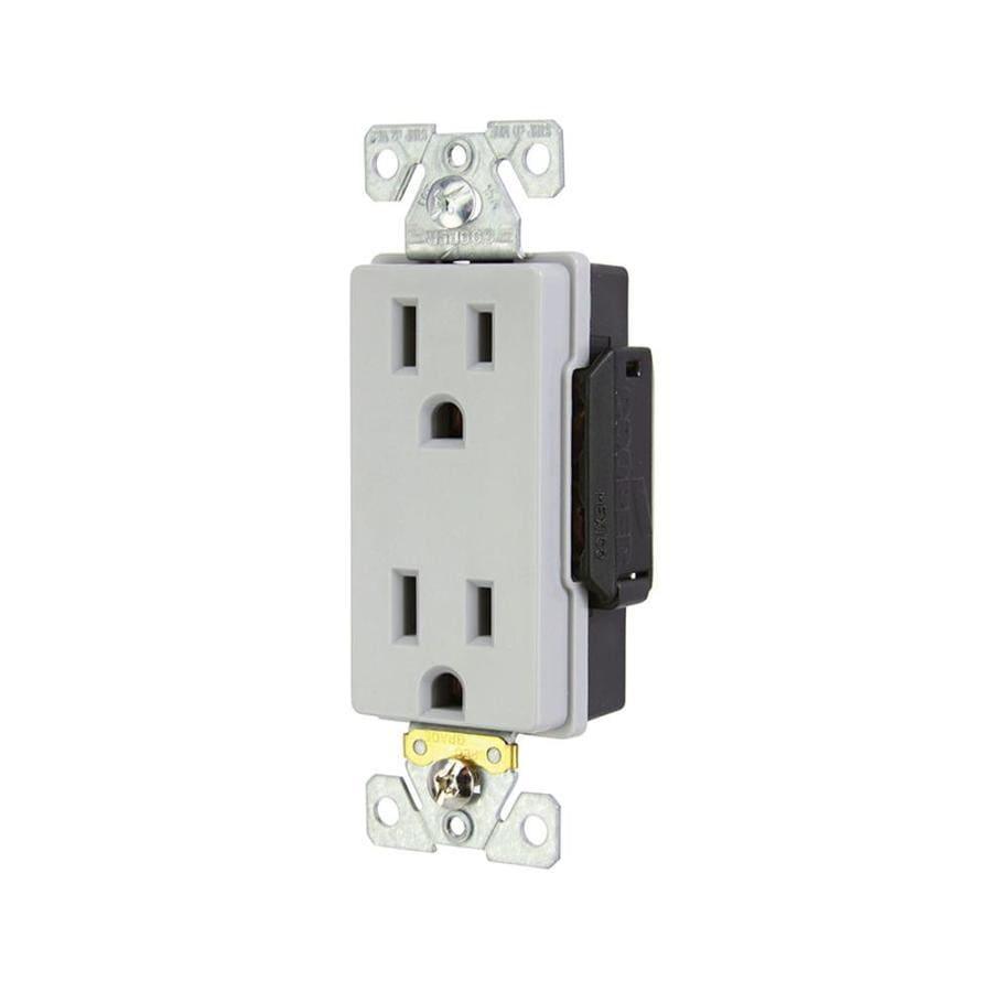 Eaton 15-Amp 125-Volt Gray Duplex Electrical Outlet