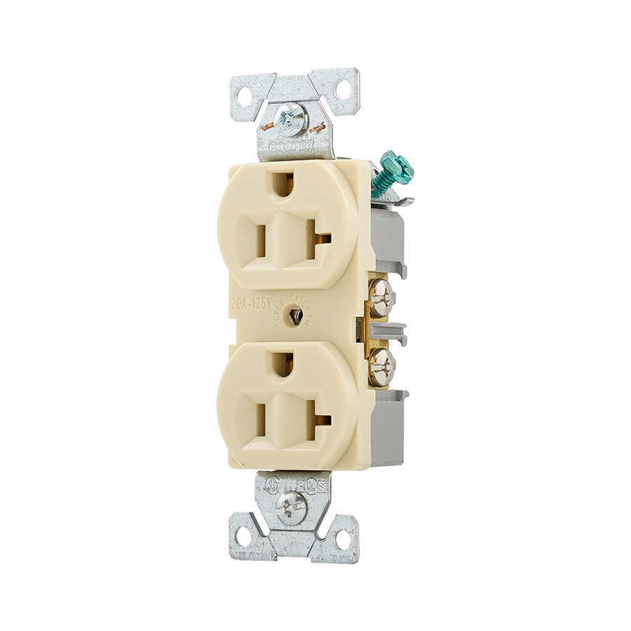 Eaton Ivory 20-Amp Duplex Outlet Commercial at Lowes.com on 20 amp gfci wiring diagrams, 20 amp switch, 20 amp to 30 amp generator adapter, 220 breaker wiring diagram, arc fault breaker wiring diagram, 3 phase power wiring diagram, 20 amp wall outlet, single phase motor starter wiring diagram, 1959 ford f100 ignition wiring diagram, 20 amp receptacle wiring, 20 amp power outlet, 240 volt wiring diagram, 20 amp power diagram, 200 amp main breaker wiring diagram, 3 phase meter wiring diagram, 20 amp receptacle 277 volt, 3 phase electric heater wiring diagram, single phase transformer wiring diagram, electrical outlet wiring diagram, 12 wire generator wiring diagram,