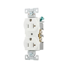 Eaton White 20-Amp Duplex Outlet Commercial Outlet