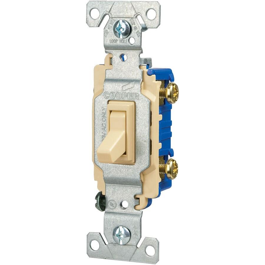 Eaton 15-Amp Single Pole Ivory Toggle Indoor Light Switch