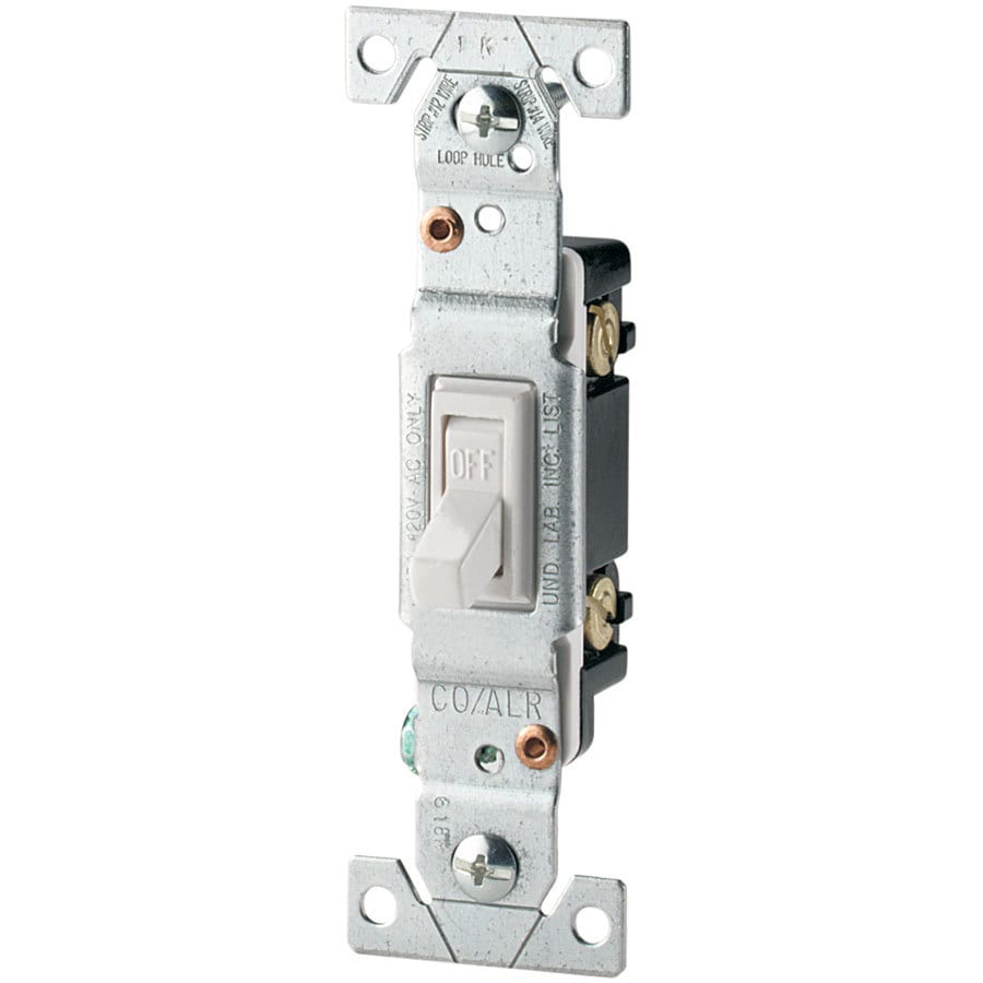 Shop Eaton 15 Amp Single Pole White Toggle Light Switch At Wiring Diagram How To Wire 2 Separate