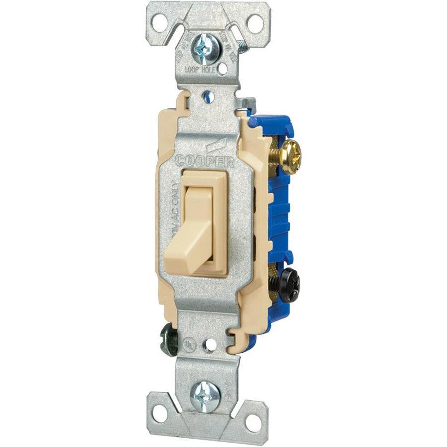 Eaton 15-Amp Single Pole 3-Way Ivory Indoor Toggle Light Switch