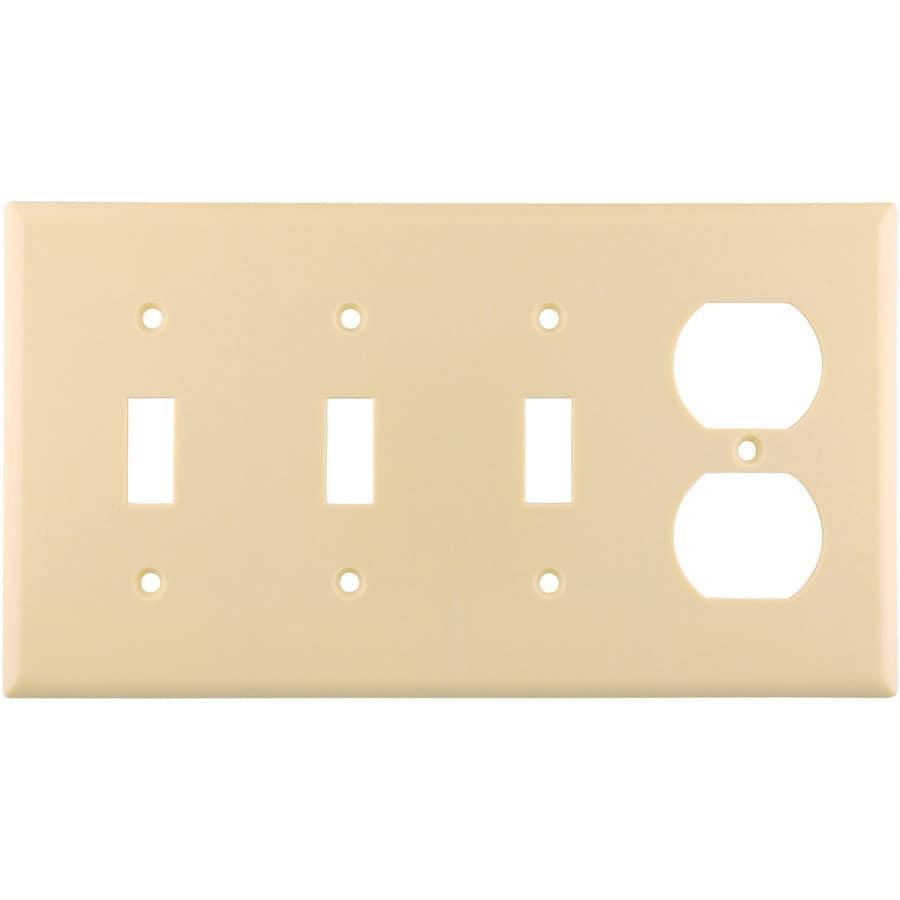 Eaton 4-Gang Ivory Wall Plate