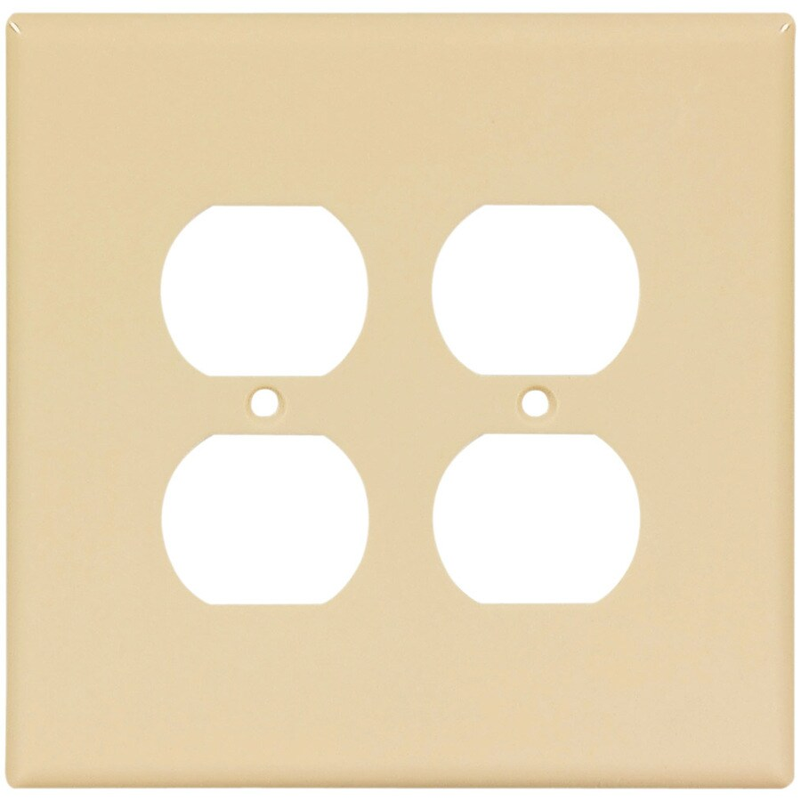 Eaton 2-Gang Ivory Round Wall Plate
