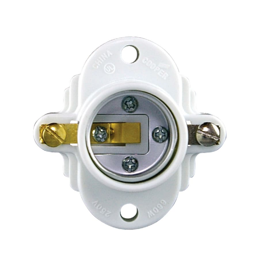 shop light sockets adapters at lowes com eaton 3 way 660 watt white hard wired cleat socket