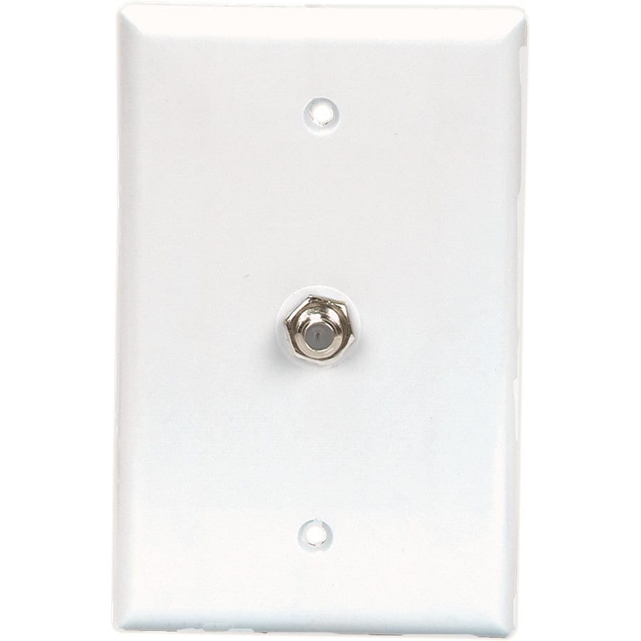 Eaton 1-Gang White Single Coaxial Wall Plate Adapter