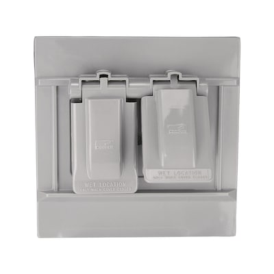 Non Metallic Gray 2 Outlet Weatherproof Electrical Cover