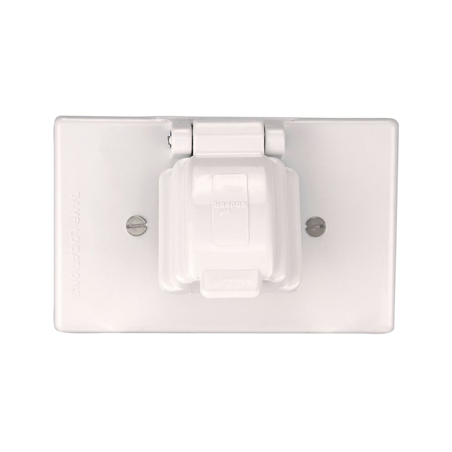 Shop electrical outlet covers at lowes eaton non metallic white 1 outlet weatherproof electrical outlet cover sciox Choice Image