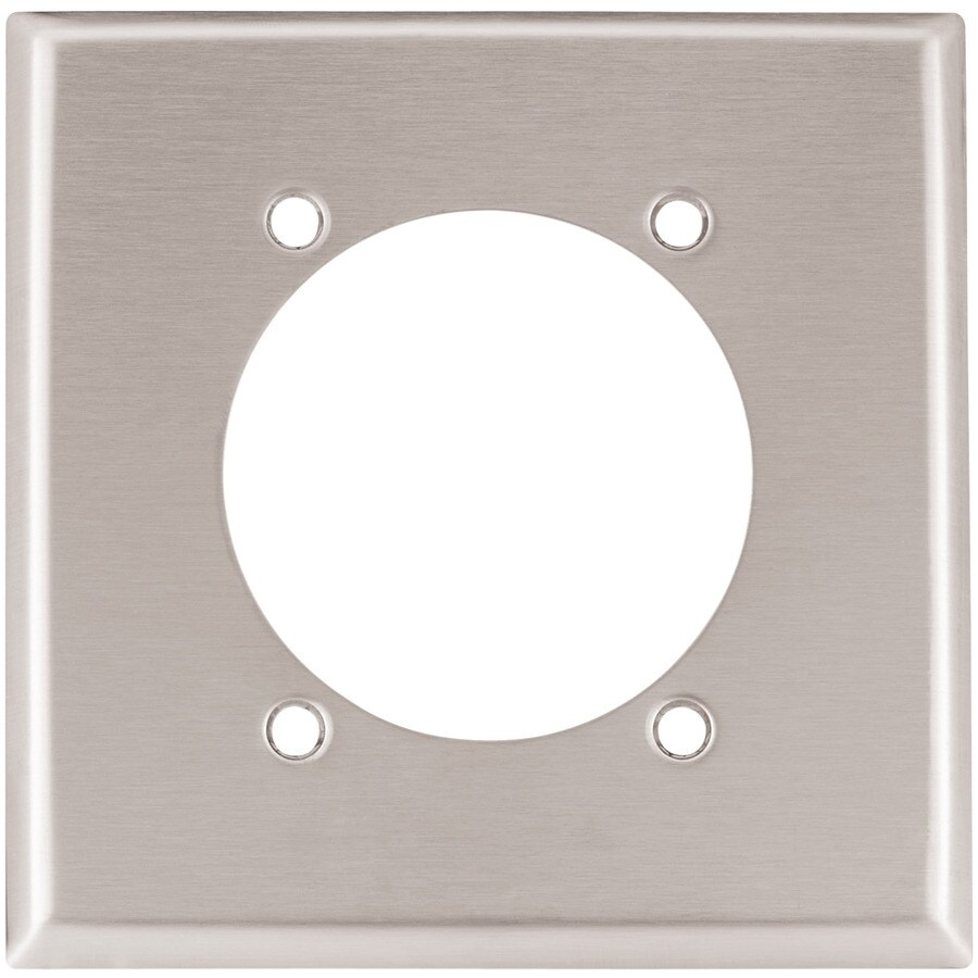 Eaton 2-Gang Stainless Steel Single Round Wall Plate