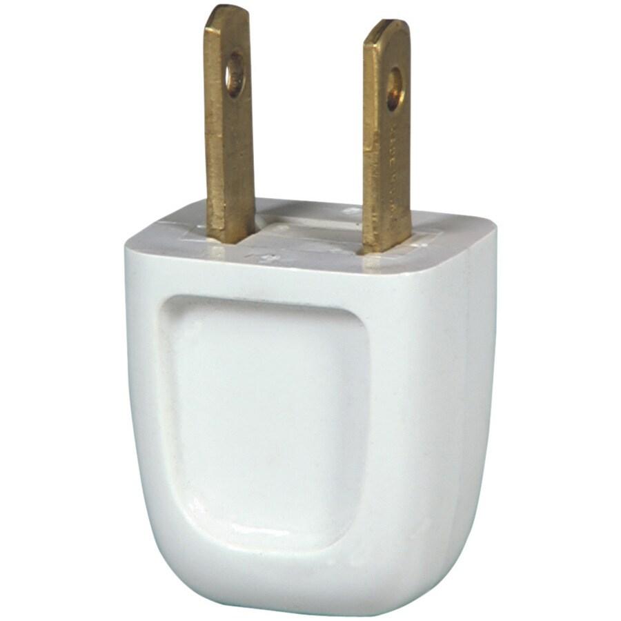 Eaton 10-Amp 125-Volt White 2-Wire Plug