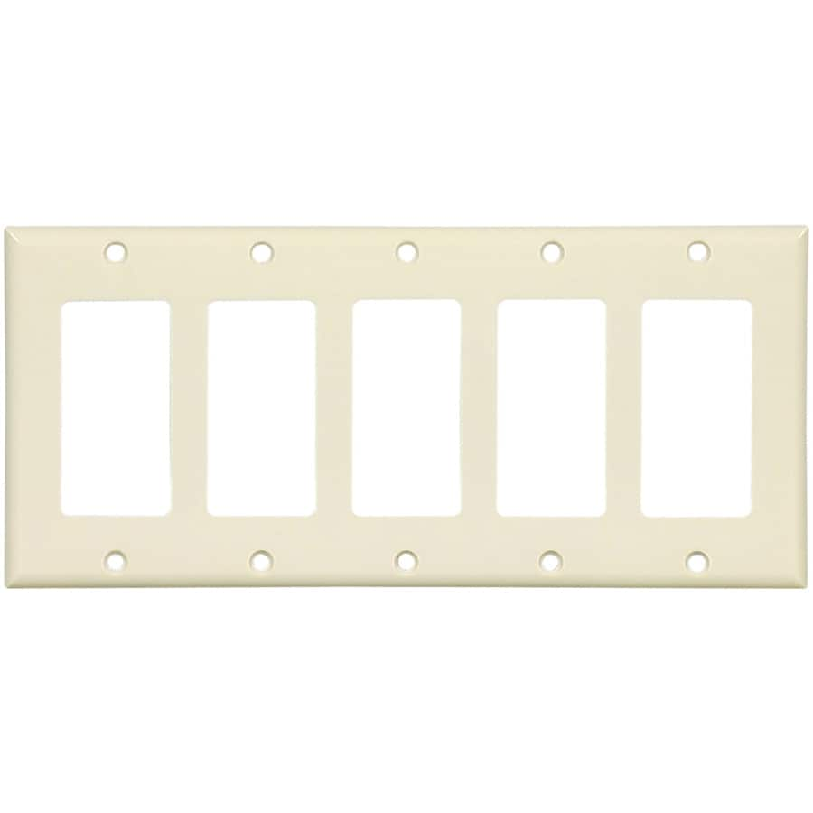 Eaton 5-Gang Almond Decorator Wall Plate